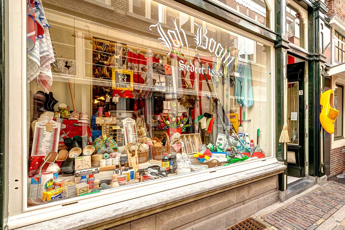 The shop window with traditional brushes and clogs